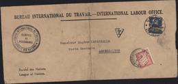 Bureau International Travail International Labour Office YT 69 Surcharge SaN Bureau International Travail Poste Restante - Lettres & Documents