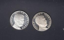 Drittes Reich Lot Silber-Medaillen Adolf Hitler 1889-1945 Ein Volk Ein Reich Ein Führer 2 Stück - [ 4] 1933-1945: Drittes Reich
