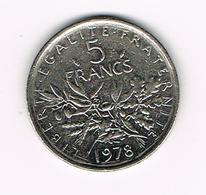 &  FRANKRIJK  5 FRANCS  1978 - France