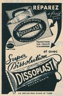 Ancienne Publicité (1961) : Super Dissolution DISSOPLAST, Colle, Cyclisme, Rustine, Crevaison - Advertising