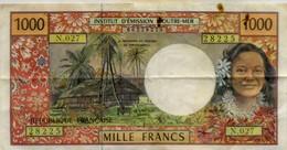 Billet De 1000 Francs ,émission D Outre Mer PAPEETE - Papeete (French Polynesia 1914-1985)