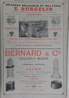 PUB 1902 - Brasserie E. Burgelin Nantes 44, Cage Fil De Fer Bernard Chalons/Marne, Caoutchouc A. Bognier/Burnet Ivry/Sei - Advertising