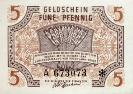 West Germany 5 Pfennig 1947 UNC, Ro.211/FBZ-4 - [ 5] Ocupación De Los Aliados