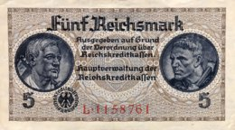 Germany 5 Reichsmark EF/VF, Ro.553a/ZWK-4a - [ 4] 1933-1945 : Third Reich