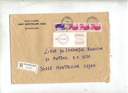 Lettre Recommandee Saint Jean De Vedas Sur Marianne Gandon  + Machine - Marcophilie (Lettres)