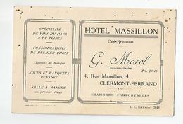 Carte De Visite Hotel Massillon Morel Au N4 Rue A Clermont Ferrand 63 - Visiting Cards