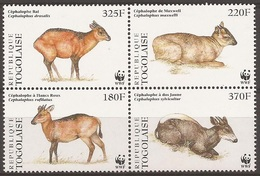 TOGO 1996 Y&T 1615 à 1618 Neufs**  Les Céphalopodes (antilopes Africaines) / WWF - Ongebruikt