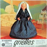 Grande Image Publicitaire Biscottes GRIELLES Série Poupées Folkloriques N° 137 LOURDES - Biscottes