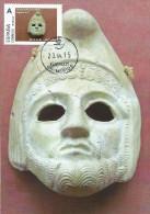 "Spain Maxicard 2015– España Tarjeta Máxima Con Sello Personalizado De ""Máscara Teatral Masculina"" De Cerámica Del MNAR - Archaeology"
