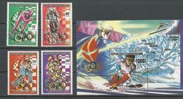 CENTRAFRIQUE  Scott 951-954, 955 Yvert 829-830, PA392-PA393, BF102 ** (4+bloc) Cote 20,25 $ 1990 - Centrafricaine (République)