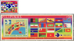 Ref. 299934 * NEW *  - PHILIPPINES . 2012. CINCUENTENARIO DE LA UNION POSTAL DE ASIA-PACIFICO - Filippine