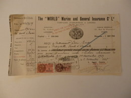 "Reçu De The ""World"" Marine And General Insurance, Compagnie D'assurances à Londres. - United Kingdom"