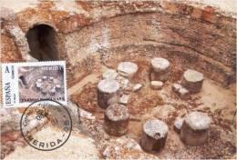 Spain Maxicard – España Tarjeta Máxima Con Sello Personalizado De Las Termas Romanas De Reyes Huertas De Mérida - Archaeology