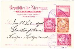 1905 Antwort Ganzsache Mit Zusatzfrankatur Aus Managua Nach Schnottwil - Nicaragua