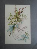 Carte Ancienne Bonne Fete Avec Fleurs Sainte Jeanne - Autres