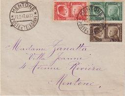 FRANCE :GUERRE .OCCUPATION ITALIENNE DE MENTON . PLI PHILATHELIQUE , SANS ARRIVEE . 1941 . - Poststempel (Briefe)
