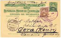 1898 Ganzsachenkarte Aus Granada Mit Zusatzfrankatur über New York Nach Gera - Nicaragua
