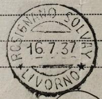 ROSIGNANO SOLVAY LIVORNO 16/7/37  Annullo SU DOCUMENTO POSTALE - Storia Postale