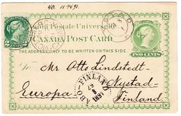 1891 2 Cent Ganzsachenkarte Aus Viktoria Mit Zusatzfrankatur Nach Nystad Finland; Ankunftstempel - 1851-1902 Victoria