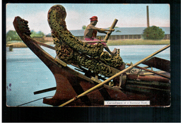 BURMA/ MYANMAR Carved Stern Of A Burmese Boat Ca 1910 OLD POSTCARD 2 Scans - Myanmar (Burma)