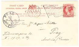 1897 2 Cent Ganzsachenkarte Aus Montreal Nach Prag Dazumal Österreich - 1851-1902 Victoria