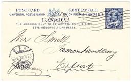 1908 Ganzsachenkarte Aus Winnipeg Nach Erfurt Mit Ankunftsstempel - 1903-1908 Règne De Edward VII