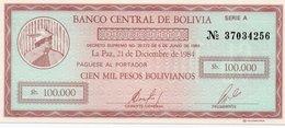 BOLIVIA 100 000 PESOS BOLIVIANOS 1984 P-188 UNC - Bolivie