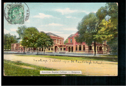 BURMA/ MYANMAR American Babtist College Rangoon Ca 1910 OLD POSTCARD 2 Scans - Myanmar (Burma)