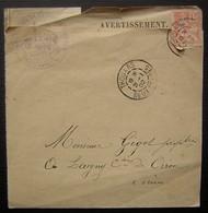 Thouars 1902 (deux Sèvres) Avertissement Du Tribunal Cantonal, Pour Monsieur Gigot - Marcophilie (Lettres)