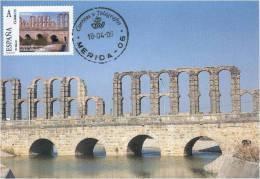 Spain Maxicard – España Tarjeta Máxima Con Sello Personalizado Del Puente Romano Sobre El Río Albarregas De Mérida - Ponti