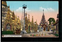 BURMA/ MYANMAR Shrines Shwe Dagon Pagoda Rangoon Ca 1910 OLD POSTCARD 2 Scans - Myanmar (Burma)