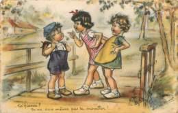"""ILLUSTRATEUR GERMAINE BOURET - 3 PETITS ENFANTS DISCUTANT : """"Toi Fiancé?"""" """"Tu Ne Sais Même Pas Te Moucher !"""" - Bouret, Germaine"""