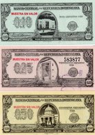 REPUBBLICA DOMINICANA 10,25,50 CENTAVOS ORO 1961 P-86,88,90 UNC -MUESTRA SIN VALOR-RARE - Dominicaine