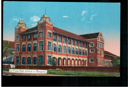 BURMA/ MYANMAR St Pauls High School Rangoon Ca 1910 OLD POSTCARD 2 Scans - Myanmar (Burma)