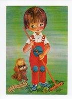 Jeune Garçon Avec Rateau, Chien, Jardinier, Sainte Catherine (18-3309) - Humorous Cards