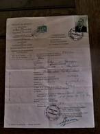Min . Buitenlandse Zaken  DOORGANGSBEWIJS  1947  Fiscale Zegel En Vele Stempels - Wetten & Decreten