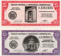 REPUBBLICA DOMINICANA  25,50 CENTAVOS ORO 1961 P-87,89 UNC -RARE - Repubblica Dominicana