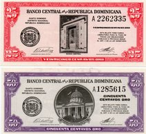 REPUBBLICA DOMINICANA  25,50 CENTAVOS ORO 1961 P-87,89 UNC -RARE - Dominicaine