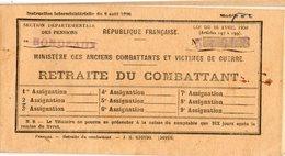 Carnet Retraite Du Combattant.  Roche Pierre à Bordeaux..  1949.  Carte No 37.32.  échéance Trimestrielles De 300 Frcs. - Documents