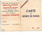 Carte De Déporté Du Travail.  S T O .  1952. - Documents
