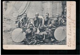 BURMA/ MYANMAR Burmese Priests  Ca 1905 OLD POSTCARD 2 Scans - Myanmar (Burma)
