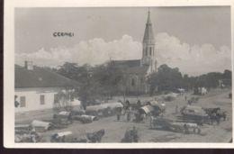CPA CERMEI- MARKET SQUARE, HORSE CARTS, CHURCH - Romania