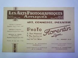 """CARTON  PUB  """"PHOTO  FLORENTIN  -  LYON""""   XXX - Advertising"""