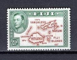 FIDJI  N° 117a DENTELE 14   NEUF AVEC CHARNIERE COTE 0.75€   CARTE DES ILES - Fiji (1970-...)