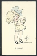 """+++ CPA - Carte Fantaisie - Fantasy Card - Illustrateur ? - Enfant - Fille Girl - """" A Lemon """"   // - Unclassified"""