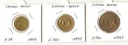 1 Franc 1944  -  2 Francs 1947 - 5 Francs 1947  ( 2 SCANS ) - Congo (Belgian) & Ruanda-Urundi