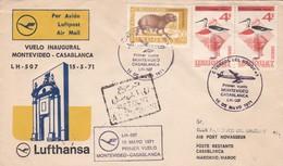 FIRST FLIGHT MONTEVIDEO~CASABLANCA LH 507 LUFTHANSA 1971 STAMP A PAIR. URUGUAY-BLEUP - Uruguay