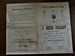Oude Reclame  Van Wijnen En Likeuren  J.  BESSE -  VICARIOT  1927 - Alcools