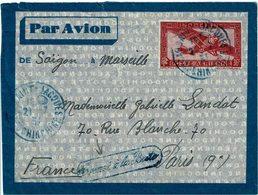 """CTN54A- INDOCHINE AEROGRAMME 36c OBL. BLEU CAP SAINT JACQUES / PARIS 21/7/1934 """"TROUVE A LA BOÎTE"""" - Indochine (1889-1945)"""