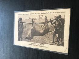 Oubangui Chari Casse Au Lion Pendu Porte Par Indigenes Croisier Noire Expedition Citroen - Oeganda